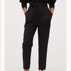 NWT-gray paper bag pants wide bottom